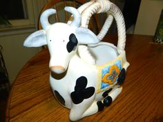 Cow PlanterPotCeramic CowCountry Kitchen DecorationFlowers