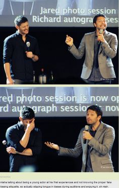 Misha on giving tongue while kissing as a young actor in auditions because he didn't know any better....and enjoying it ;) JIBCON14 #Jensen's reaction!