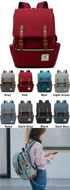 Which color do you like? Vintage Double Belt Large Thick Canvas Girl's College Rucksack USB Interface School Backpack #Backpack #Bag #school #student #college #USB #girl