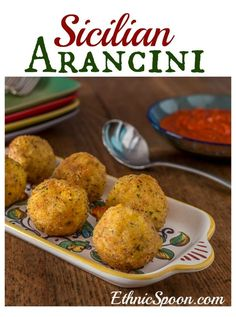 Arancini: Fried Sicilian street food made with rice, mushrooms, Parmesan or Pecorino. Italian comfort food! | ethnicspoon.com