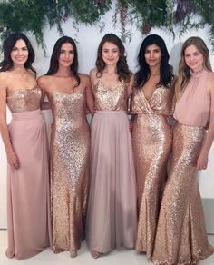 Spice up your girls' look with something glam and glitzy like this! Adore the gleaming gold fabric combined with pastel tone, accentuating both romantic and sophisticated feel. What do you think about these looks? Tag your friend and find out what they think about this!  Dress @watterswtoo via @bellabridesmaids