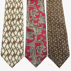 Lot of 3 Italian Silk Ties Paisley and Geometric Reds Taupes Browns and Blue #Zylos #Tie
