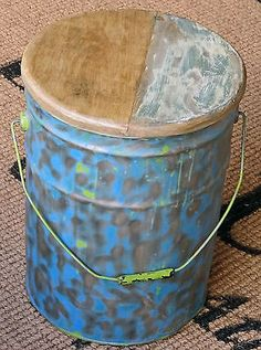 French-Industrial-Vintage-Blue-Colour-Metal-Storage-Bucket-Timber-Wood-Bar-Stool