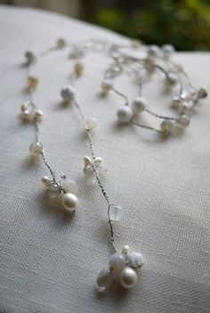 crochet beads lariat necklace