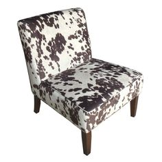Slipper Chair, Faux Brown & White Cow Fabric, Espresso Wood Finish: at home Franklin