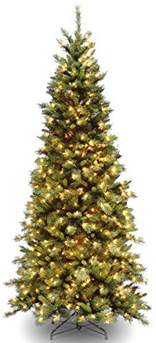 National Tree Tiffany Slim Fir Hinged Tree 712Feet 550 Clear Lights -- You can get additional details at the image link.