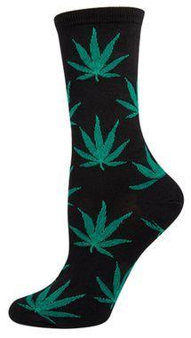 Pot Leaves Socks on Black
