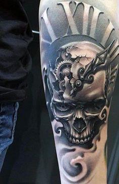 80 o'clock tattoo designs for men - timeless ink ideas - man .- 80 o'clock tattoo designs for men – timeless ink ideas - Number Tattoos, Fake Tattoos, Skull Tattoos, Trendy Tattoos, Body Art Tattoos, Feminine Tattoos, Girly Tattoos, Tattoo Drawings, Clock Tattoo Design