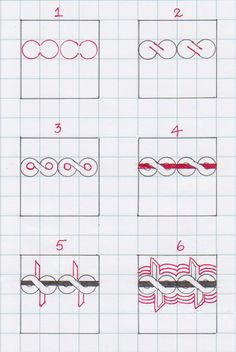 Online instructions for drawing Anne Marks' Zentangle® pattern: Bwiya.
