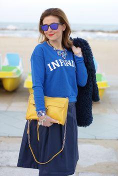 Blue faux fur jacket, Infinity sweatshirt, yellow Rebecca Minkoff M.A.C. clutch, Fashion and Cookies, fashion blogger
