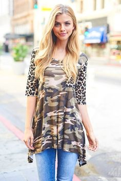 Camouflage Army Print With Animal Print Arms And Pocket Animal Print Detail Asymmetrical Hem Top - Preorder