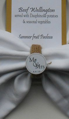 Rustic Burlap Personalised Napkin Rings  Handmade, personalised with the date of your Wedding Day