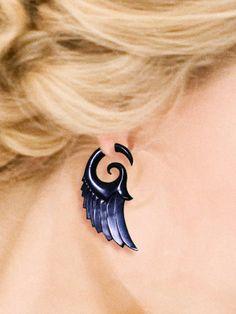 Dark Angel Wings - Fake Gauges - Organic Black Horn Earrings. $28.00, via Etsy.