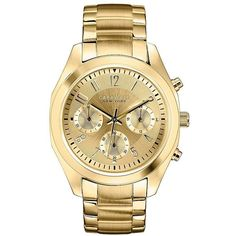 Caravelle New York Womens Gold-Tone Dial Bracelet Chronograph Watch... (135 CAD) ❤ liked on Polyvore featuring jewelry, watches, stainless steel chronograph watch, caravelle by bulova watches, stainless steel jewellery, analog chronograph watch and gold-tone watches