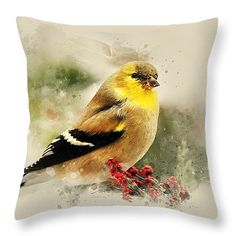"Goldfinch Watercolor Art 14"" x 14"" Throw Pillow by Christina Rollo.  Our throw pillows are made from 100% cotton fabric and add a stylish statement to any room.  Pillows are available in sizes from 14"" x 14"" up to 26"" x 26"".  Each pillow is printed on both sides (same image) and includes a concealed zipper and removable insert (if selected) for easy cleaning."