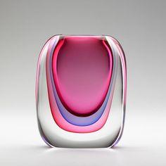 Multi Sommerso Murano Glass Vase by Luigi Onesto