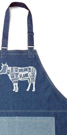 Denim chef apron Cuts of Beef diagram. Durable and adjustable.