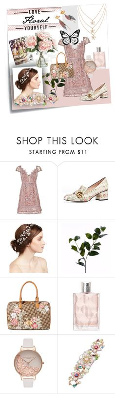 """Love Yourself Floral"" by evenafro on Polyvore featuring Post-It, Gucci, Jennifer Behr, Wyld Home, Lauren Ralph Lauren, Burberry, Olivia Burton, Betsey Johnson, Home Decorators Collection and floralprint"