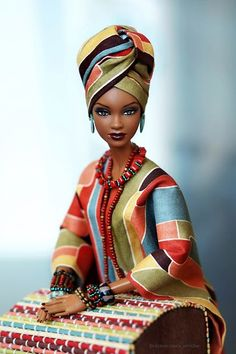 OMG i freaking love this one. Wish we could see her whole outfit though. African Dolls, African American Dolls, Barbie Style, Diva Dolls, Art Dolls, Afrique Art, Beautiful Barbie Dolls, Black Barbie, Black Women Art