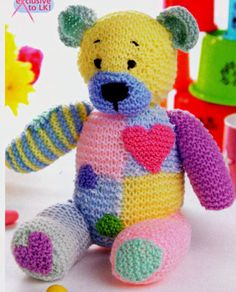 Patchwork Bear n Baby Knitting Patterns, Teddy Bear Patterns Free, Teddy Bear Knitting Pattern, Knitted Teddy Bear, Teddy Bear Toys, Crochet Teddy, Crochet Bear, Crochet Toys, Knitting Bear