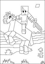 Minecraft Horse And Rider Coloring Page