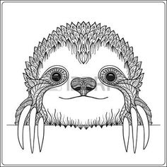 sloth head: Decorative cute sloch. Outline vector illustration. Coloring book for adult and