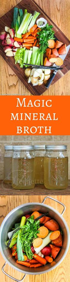 Magic Mineral Broth - this is an organic vegetable broth that can sipped like tea or used as the base for vegetarian/vegan soups ~ http://jeanetteshealthyliving.com (Liquid Diet Recipes)