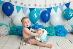 Baby boy Cake Smash, Blues, teals, silvers, whites ! Niagara Baby Photographer, Niagara Newborn Photographer, Cake Smash Photographer, Oh So Savvy Photography