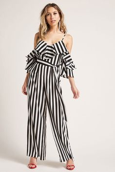 A woven jumpsuit featuring an allover striped pattern, palazzo pants, an open-shoulder design, $48 from Forever 21. Enjoy RUSHWORLD boards, BARK RUFFINGTON'S DOG KINGDOM, BUDGET PRINCESS COUTURE and UNPREDICTABLE WOMEN HAUTE COUTURE. Follow RUSHWORLD! We're on the hunt for everything you'll love!