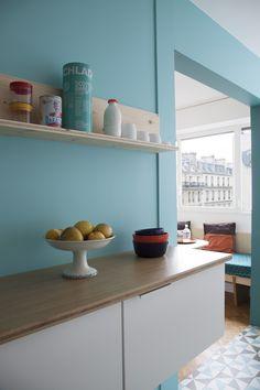 Paris Apartment for Smeg Kitchen, Kitchen Design, Kitchen Decor, Mood Board Interior, Pastel Interior, Blue Rooms, Break Room, Decor Interior Design, Interior Ideas