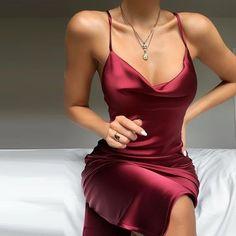 Buy Plunge Neck Satin Mini Dress in the online store – TopTrendBrand – Mode Satin Mini Dress, Satin Dresses, Elegant Dresses, Pretty Dresses, Beautiful Dresses, Formal Dresses, Sexy Dresses, Wedding Dresses, Dress Red