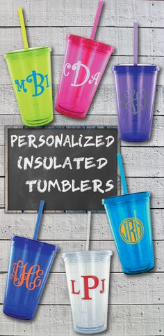 16 Ounce insulated acrylic plastic tumblers personalized with three letter monogram is the perfect bridesmaid gift to keep your best girls hydrated on your wedding day. This useful gift idea under $25.00 will be greatly appreciated as it is used over and over at home, in the car, at the office. These tumblers can be ordered at http://myweddingreceptionideas.com/16-oz-monogrammed-insulated-tumbler.asp