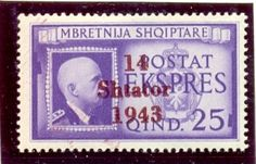 "Express stamp. The first issue of postage stamps for Albania consisted of former Italian occupation stamps with a ""14 Shtator 1943"" overprint ( 14th September 1943)."