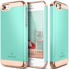 [Caseology] Savoy Series_iPhone SE_Turquoise Mint //Luxurious Details / Rich Texture / Reliable Protection / Elegant Quality / Endless Possibilities / High Compatibility