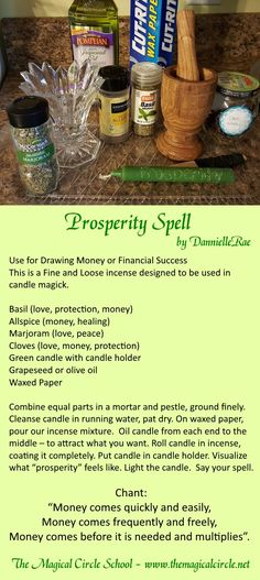 Prosperity Spell - Candle Magick - Kitchen Witch - by DannielleRae - The Magical Circle School www.themagicalcircle.net