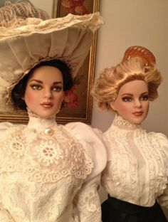 #dollchat Hourglass Ladies: Two of my DeeAnna repaints wearing Edwardian outfits.