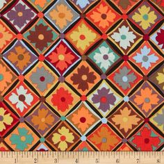 Kaffe Fassett Antwerp Flowers Brown from @fabricdotcom  Designed by Kaffe Fassett for Westminister, this cotton fabric is perfect for quilting, apparel and home decor accents. Colors include red, green, orange, black and brown.