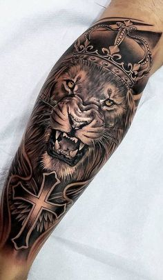 50 eye-catching lion tattoos that make you fancy ink - photography - . 50 eye-catching lion tattoos that make you fancy ink - photography - ., 50 eye-catching lion tattoos that make you want ink - photography - # flashy # Lion tattoos. Lion Leg Tattoo, Lion Forearm Tattoos, Lion Tattoo Sleeves, Lion Head Tattoos, Leg Tattoo Men, Skull Tattoos, Animal Tattoos, Leg Tattoos, Body Art Tattoos
