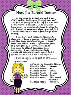 student teacher ms tiffany hedrick introduction letter