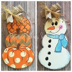 Fall Decorations / Pumpkin Stack Door Hanger / Reversible / Autumn / Winter / Home Decor / Fall Wreath /  Wooden Door Hanger / Snowman