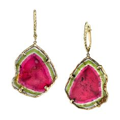 Watermelon Tourmaline Slice Gold Earrings  | From a unique collection of vintage dangle earrings at https://www.1stdibs.com/jewelry/earrings/dangle-earrings/