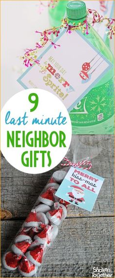 "9 Last Minute Neighbor Christmas Gifts.  Quick and easy holiday gifts for neighbors and friends using store bought items but making them your own.  Cute ""punny"" Christmas gifts to love!"