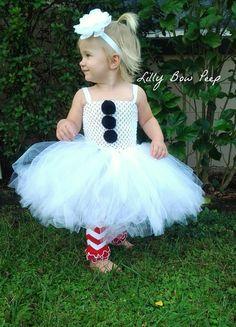 Christmas Dress-White Snow Tutu Dress & Headband by LillyBowPeep