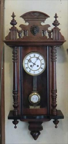 アンティークドイツ製3面ガラス柱時計短尺 Watch wall clock ¥90000円 〆03月26日
