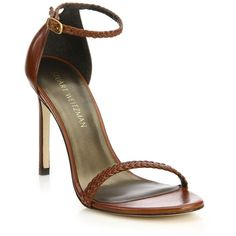 Stuart Weitzman Barebraid Nudistsong Leather Sandals (6.300.390 IDR) ❤ liked on Polyvore featuring shoes, sandals, apparel & accessories, cognac, stuart weitzman sandals, cushioned shoes, stuart weitzman, leather footwear and cognac shoes