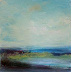 Soft Blue Marsh- Oil on Stretched 12 x 12 Canvas- Original Art- Beach- Water- Minimalist on Etsy, $75.00