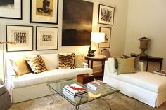 Creams & neutrals, animal print pillows, wonderful art - master bedroom sitting area in Atlanta showhouse - Robert Brown
