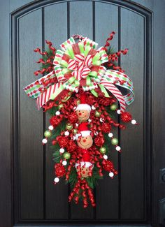 "Christmas Wreath Holiday Wreath Door Wreath Teardrop Vertical Swag Decor..""Gingerbread Men""..One of a Kind on Etsy, $85.00"