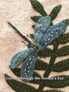 """Telling Stories Through the Needle's Eye: """"In the Garden""""—Dragonfly and Fern"""