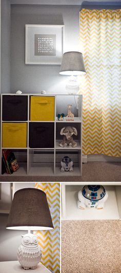 Grey and yellow. Grey walls, yellow chevron curtains, white heart picture, square cubbies <3